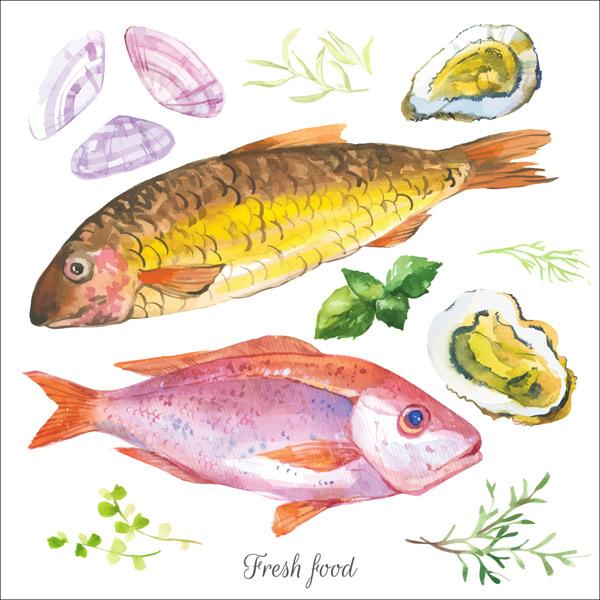 新鲜的海鲜插画