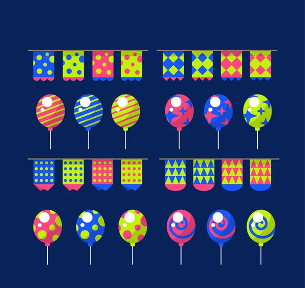 彩色拉旗和气球