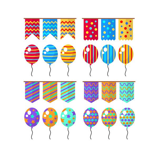 节日拉旗和气球