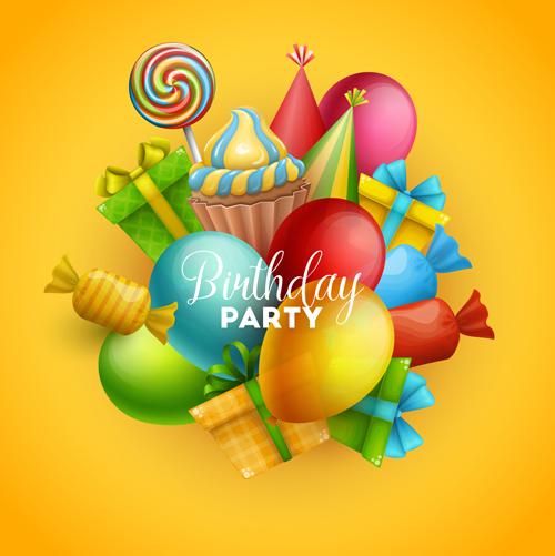 生日,生日派对,生日快乐,设计元素,气球,彩球,多彩,炫彩,棒棒糖,礼物