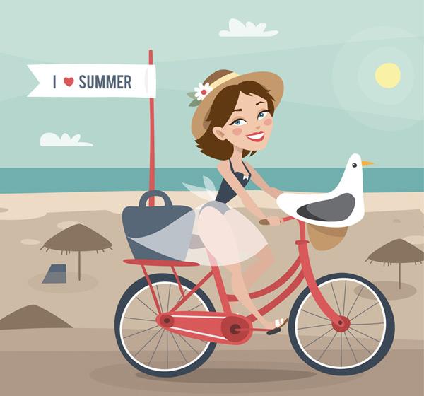 度假女郎和海鸥