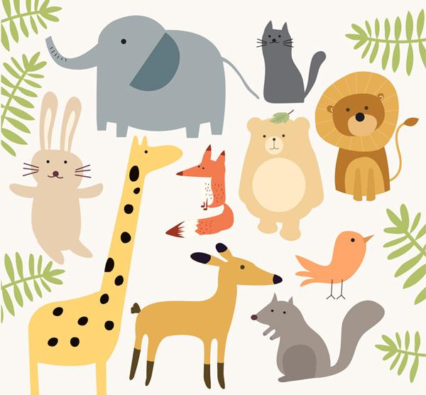 0 点 关键词: 10款简洁可爱动物设计矢量素材,大象,猫,兔子,熊,长颈鹿