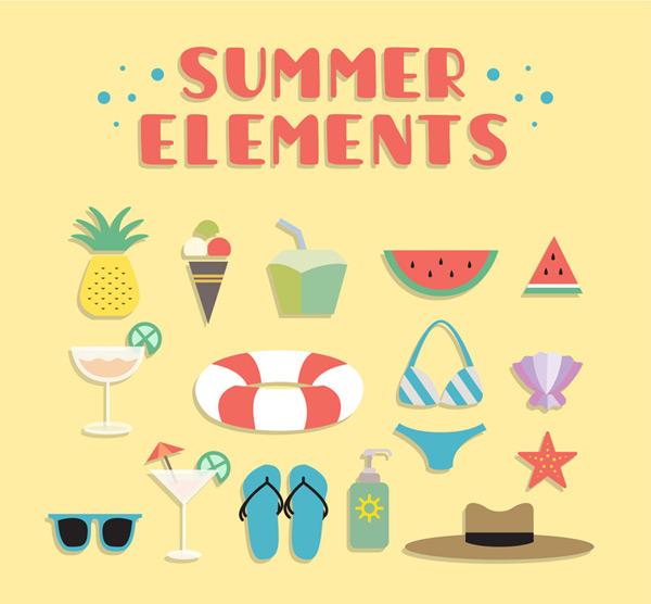 夏季海滩度假元素