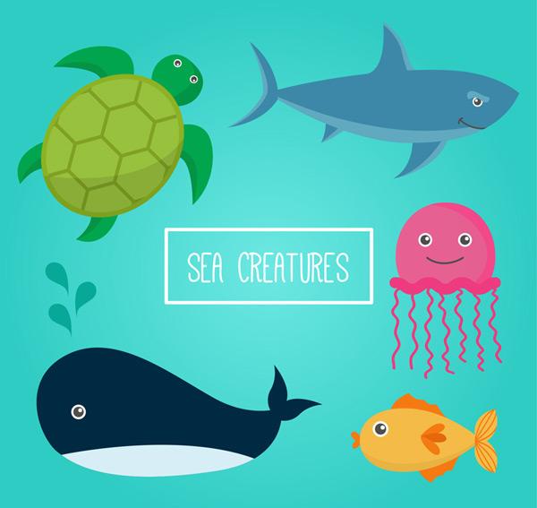 5款卡通海洋动物矢量素材,鲨鱼,海龟,水母,鲸鱼,鱼,海洋,动物,矢量图