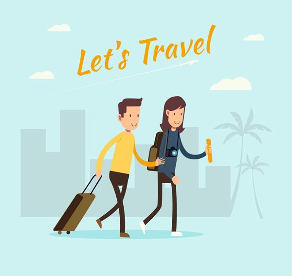 0 点 关键词: 卡通结伴旅行的人物矢量素材,背包,椰子树,行李箱,云朵