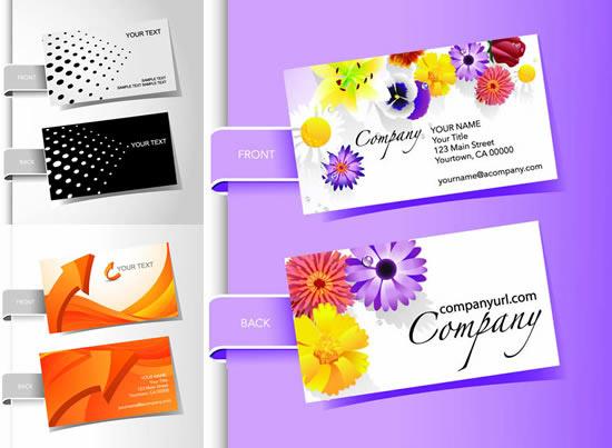 时尚创意名片模板矢量素材,时尚创意,名片模板,黑白圆点,黄色箭头