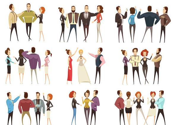 多款卡通团队人物聊天聚会矢量素材,卡通人物,卡通团队,男人,女人