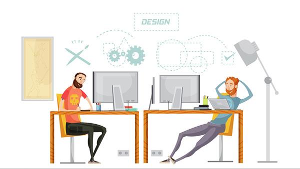 矢量素材,办公室,设计师,男人,台灯,图形,电脑,工作,上班,办公桌,思考