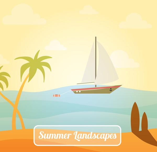 0 点 关键词: 美丽夏季大海帆船和椰子树风景矢量素材,冲浪板,椰子树