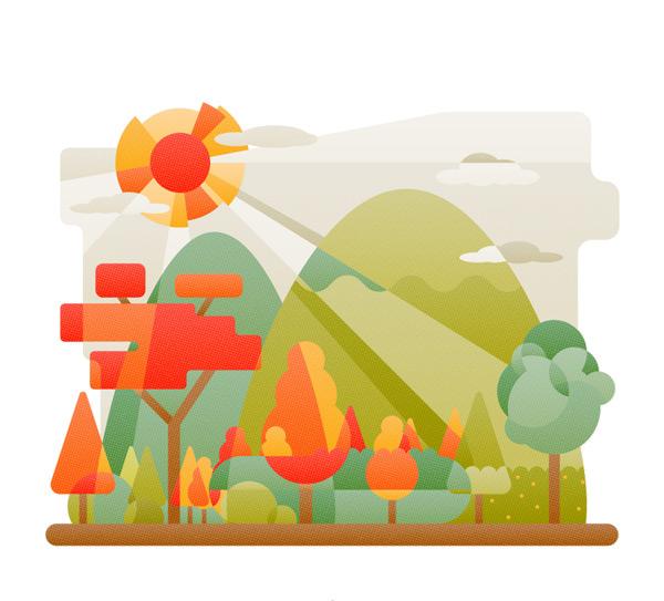 创意郊外山林风景矢量素材,云朵,郊外,山,树林,太阳,风景,自然,矢量图