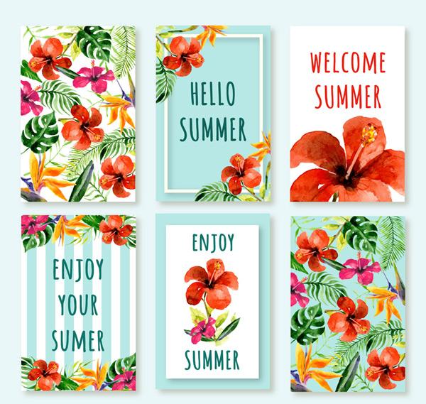 夏季热带花卉卡片