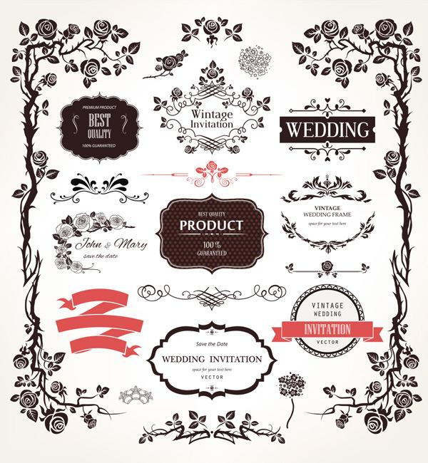 优雅元素,花卉,植物标签,插图,复古婚礼设计,黑白色框架,花纹边框