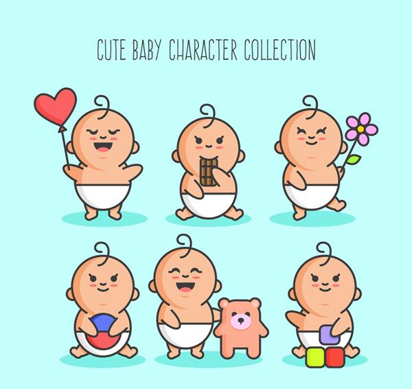 可爱婴儿矢量素材,气球,爱心,巧克力,花,玩具熊,积木,球,玩耍,人物