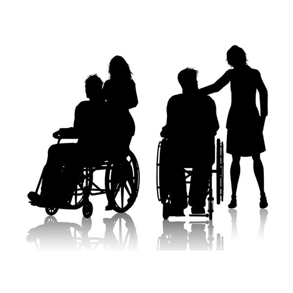 轮椅人物与护理