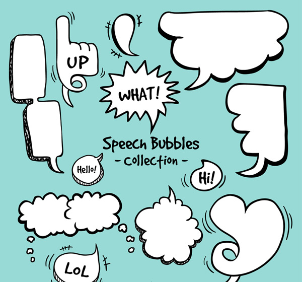 12款手绘漫画风格语言气泡矢量素材,手势,爱心,手绘,语言气泡,对话框