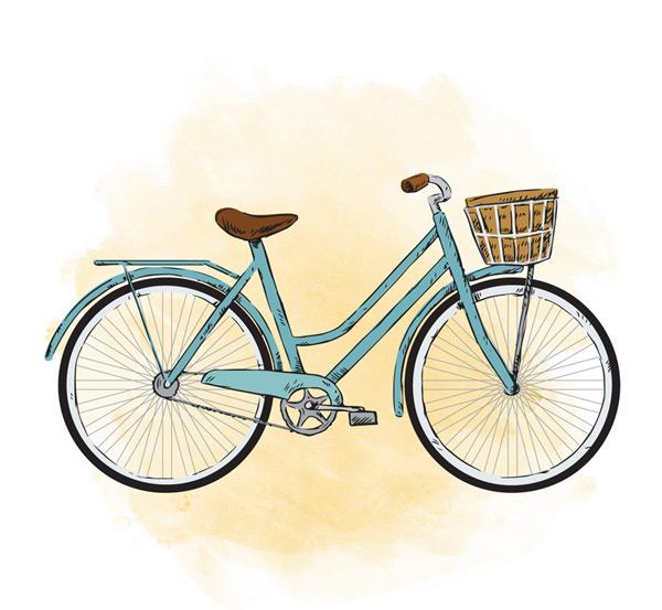 彩绘蓝色单车