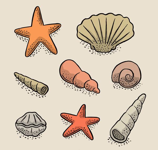 贝壳和海星矢量素材,海螺,扇贝,彩绘,海滩,贝壳,海星,矢量图,ai格式