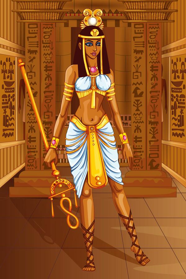 古埃及服饰-拿权杖的埃及女性图片