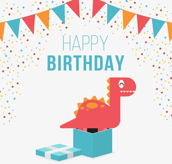 0 点 关键词: 可爱恐龙生日贺卡矢量素材,三角拉旗,彩色纸屑,happy