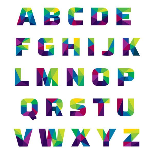 抽象拼色字母