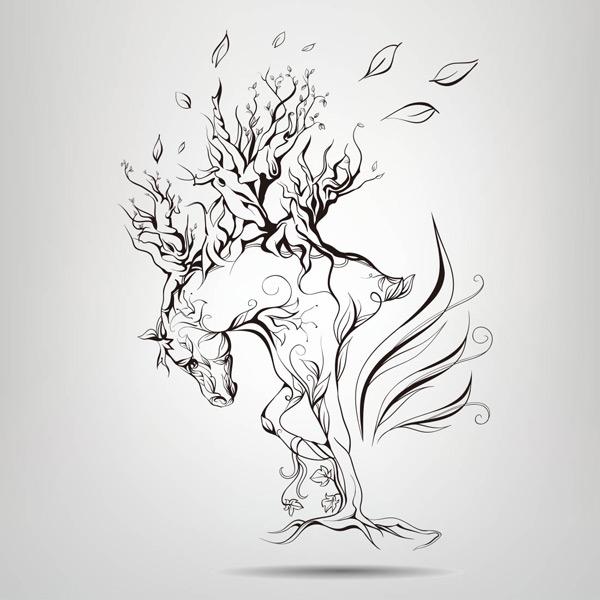 马的简笔画可爱创意