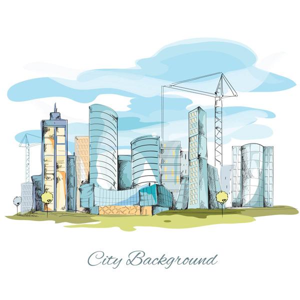 手绘现代城市建筑