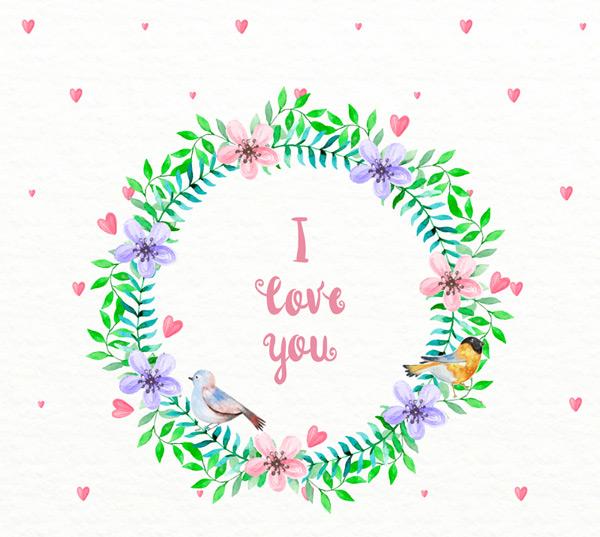 爱的花环和鸟