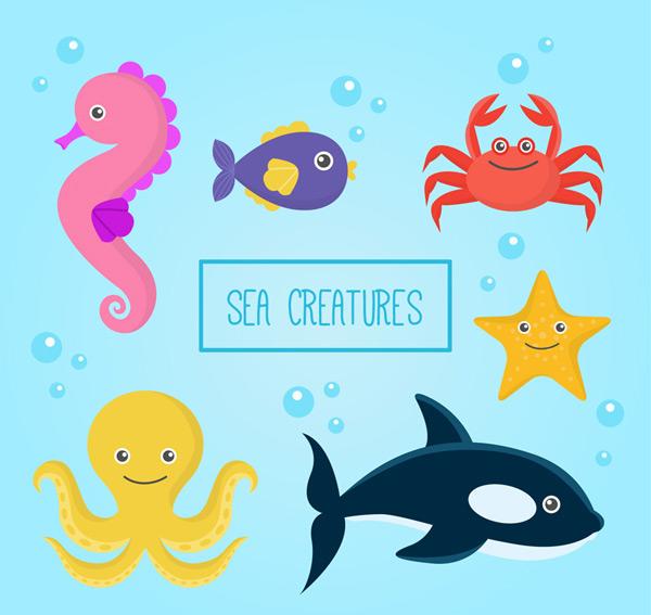 矢量卡通动物所需点数: 0 点 关键词: 6款卡通章鱼螃蟹等海洋动物