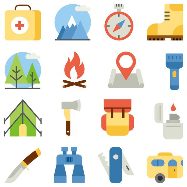 扁平化野外生活工具图标集矢量素材,急救箱,山峰,指南针,登山鞋,树木