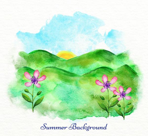 关键词: 水彩绘夏季山野风景矢量图,自然,风景,水彩,夏季,花朵,太阳