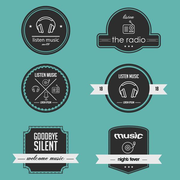 点 关键词: 6款创意广播与音乐标签矢量素材,耳麦,收音机,麦克风,广播