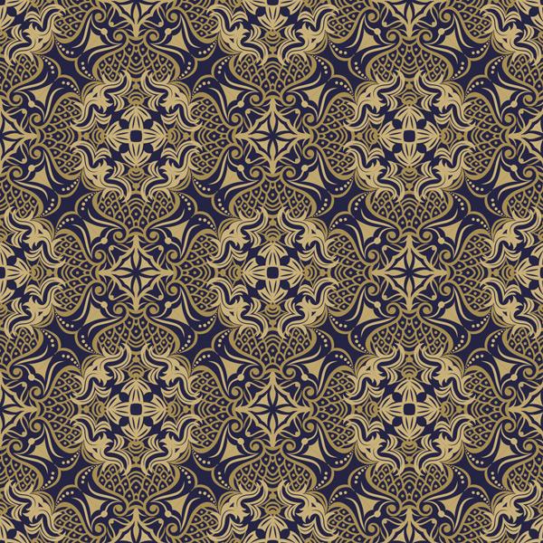 创意蓝金色二方连续花纹背景矢量素材,欧式风格,藤蔓花纹,花卉背景