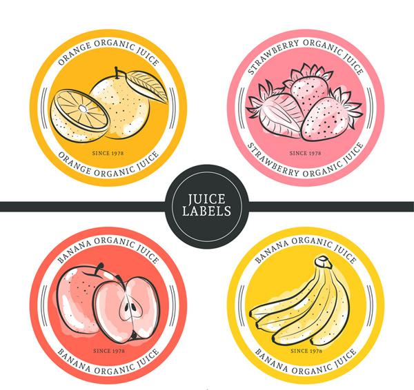label矢量所需点数: 0 点 关键词: 4款彩绘水果果汁标签矢量素材