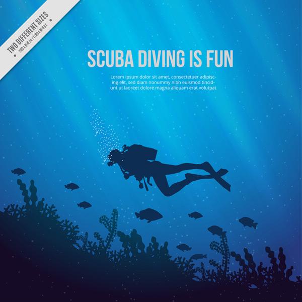 海底潜水人物剪影