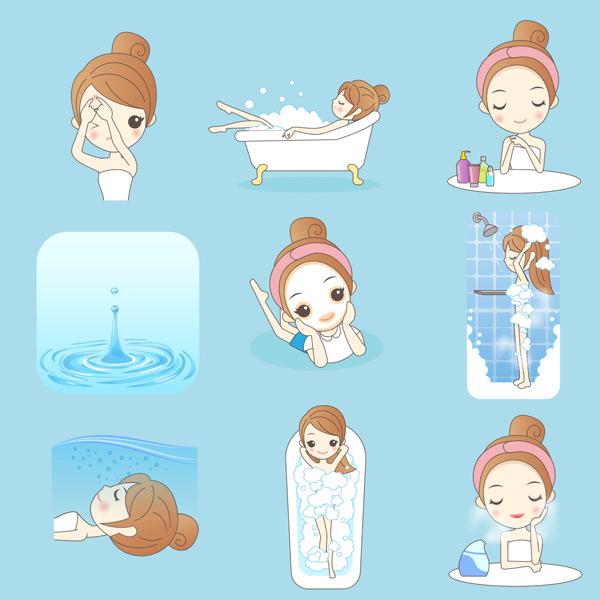 卡通女孩美容护肤矢量素材,女,女孩,身体,护理,漫画,卡通,人物,清洁