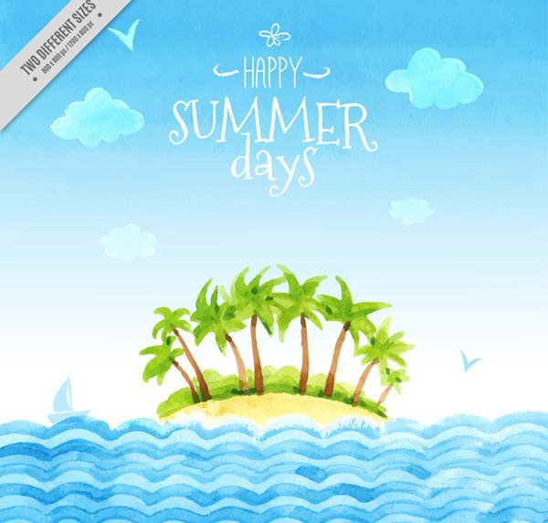 海鸥,云朵,帆船,度假,假期,夏季,大海,椰子树,岛屿,矢量图,ai格式