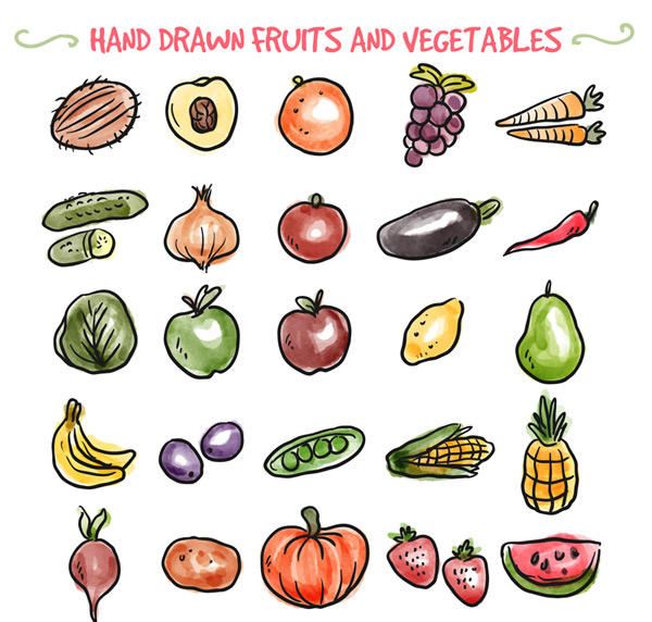 手绘水果和蔬菜矢量素材,椰子,桃子,石榴,葡萄,胡萝卜,黄瓜,洋葱,茄子