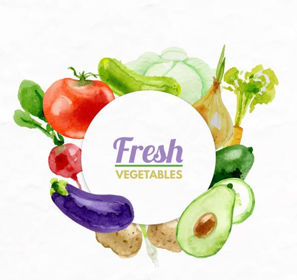 水彩新鲜蔬菜