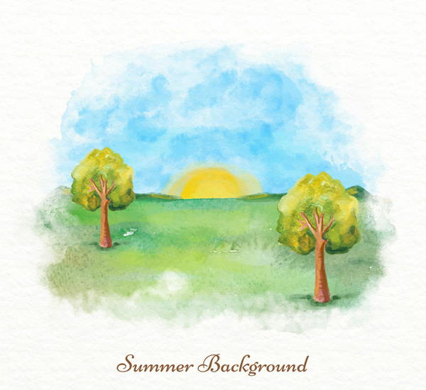 太阳,朝阳,树木,草地,野外,自然,水彩,夏日,郊外,风景,矢量图,ai格式