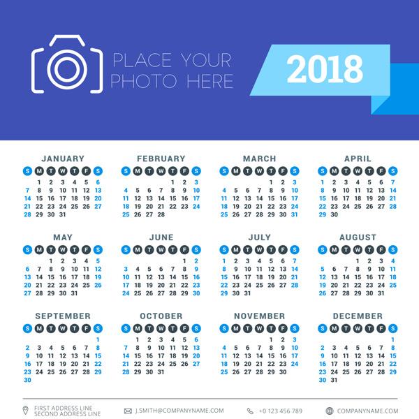 2018年日历