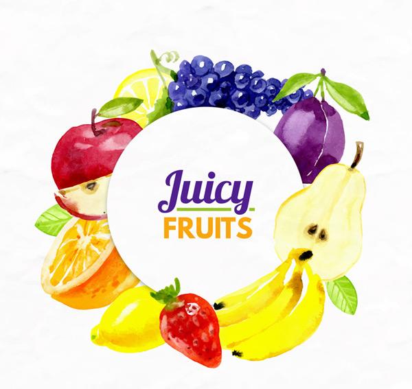 水彩绘多种水果