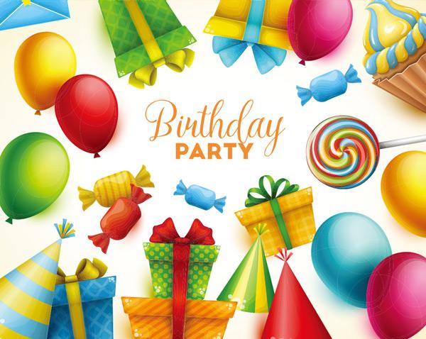 素材,生日快乐,卡通背景,气球,多彩,礼物,糖果,彩虹糖,糖果,生日帽