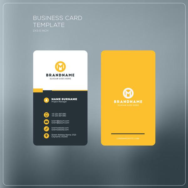 名片模板矢量素材,拼色名片,黄色背景,竖版名片,商业名片,圆形logo