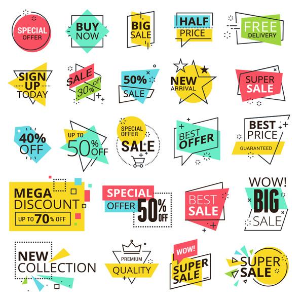 多彩时尚促销标签