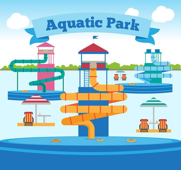 卡通矢量插画所需点数: 0 点 关键词: 卡通水上公园设计矢量素材