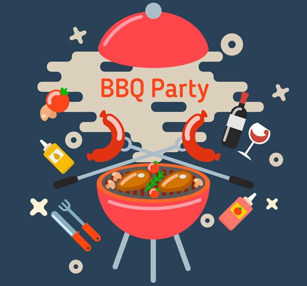 0 点 关键词: 创意烧烤派对插画矢量素材,香肠,圆形烧烤炉,调料,葡