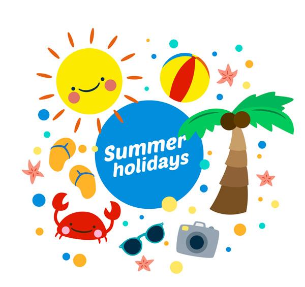 可爱夏日假期元素