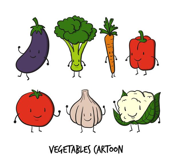 素材分类: 矢量卡通角色所需点数: 0 点 关键词: 7款可爱卡通蔬菜