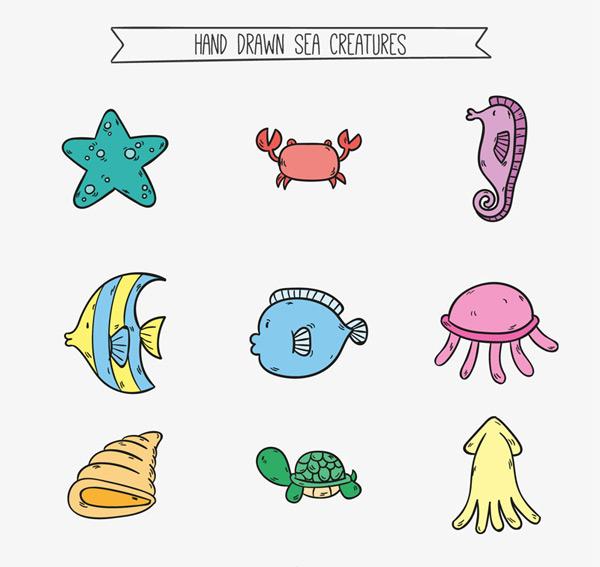 素材分类: 矢量卡通动物所需点数: 0 点 关键词: 9款彩绘海洋动物