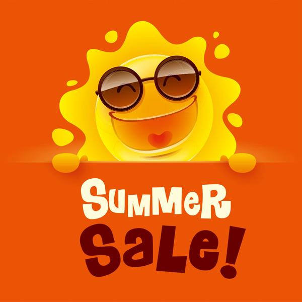 戴着墨镜开心微笑的太阳夏季促销矢量素材,太阳,阳光,夏季,卡通,可爱